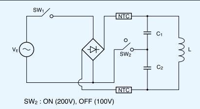 对于100v和200v的供电电路试用下列电路